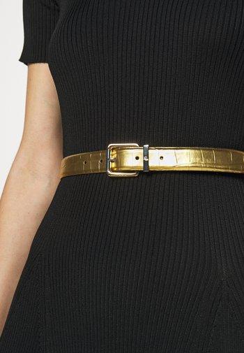 CROC EMBOSS TWO TONE - Belt - antique gold-coloured/black