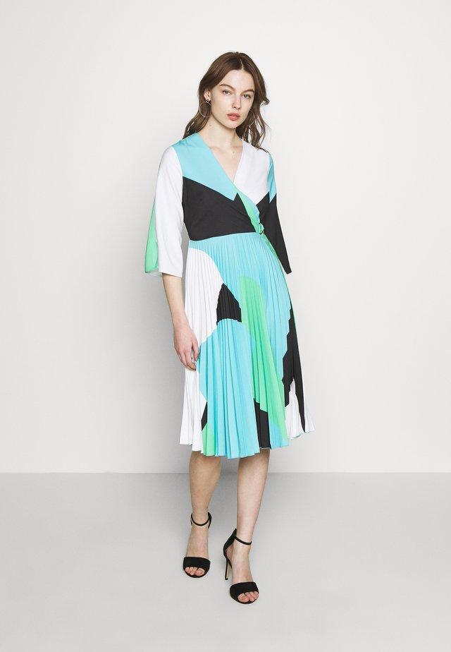 WRAP PLEATED DRESS - Day dress - blue