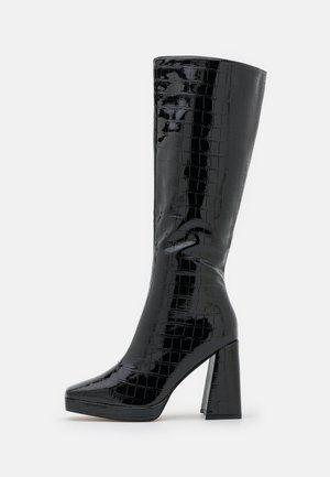 WIDE FIT ROSIE - Kozačky na vysokém podpatku - black