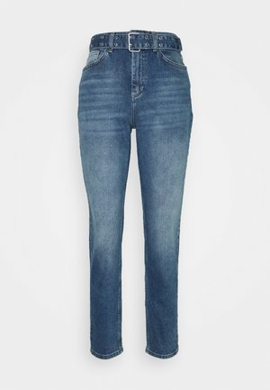 ONLVENEDA LIFE MOM BELT - Relaxed fit jeans - dark blue denim