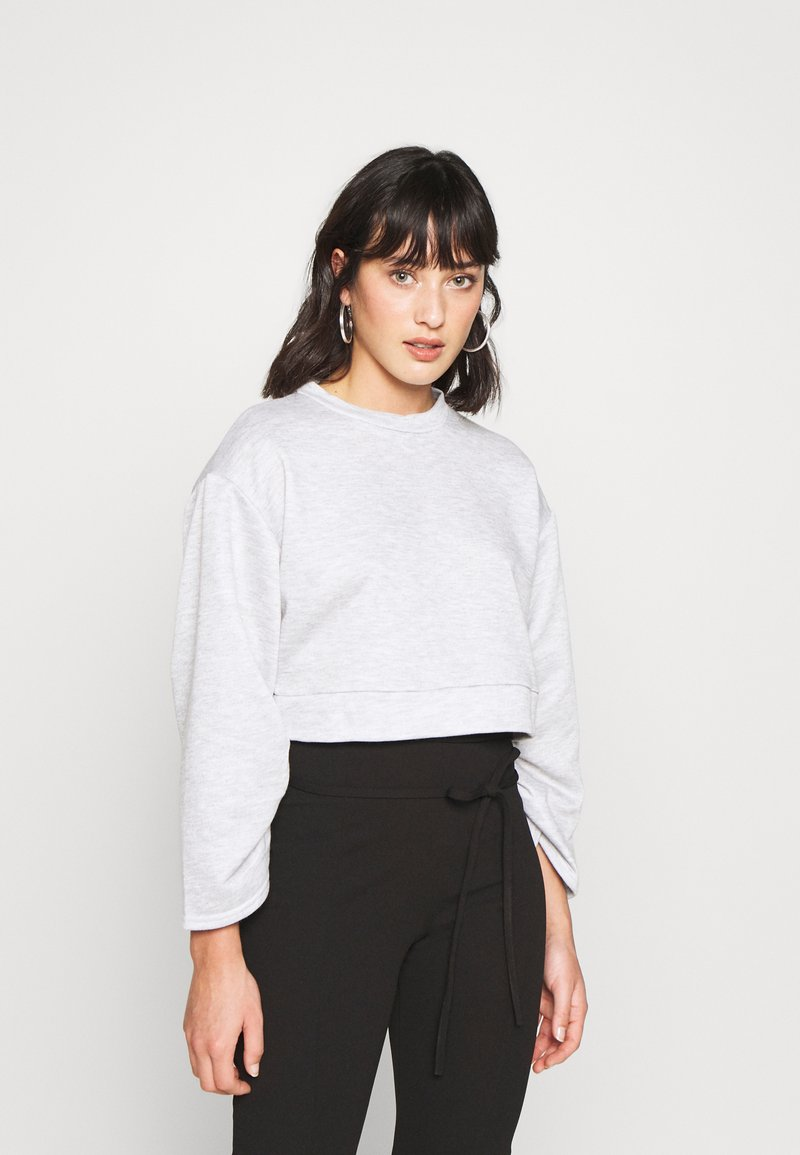 Missguided Petite - RUCHED SLEEVE - Felpa - grey