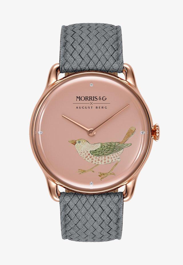 UHR MORRIS & CO ROSE GOLD BIRD GREY PERLON 38MM - Horloge - primrose