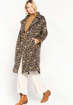 LONG  WITH LEOPARD PRINT - Classic coat - brown