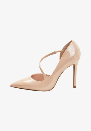 BLACK TWO PART POINT COURT SHOES - High Heel Pumps - beige