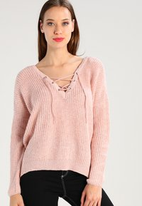 ONLY - ONLPEYTON LACE UP - Strickpullover - rose dawn/w. white melange - 0