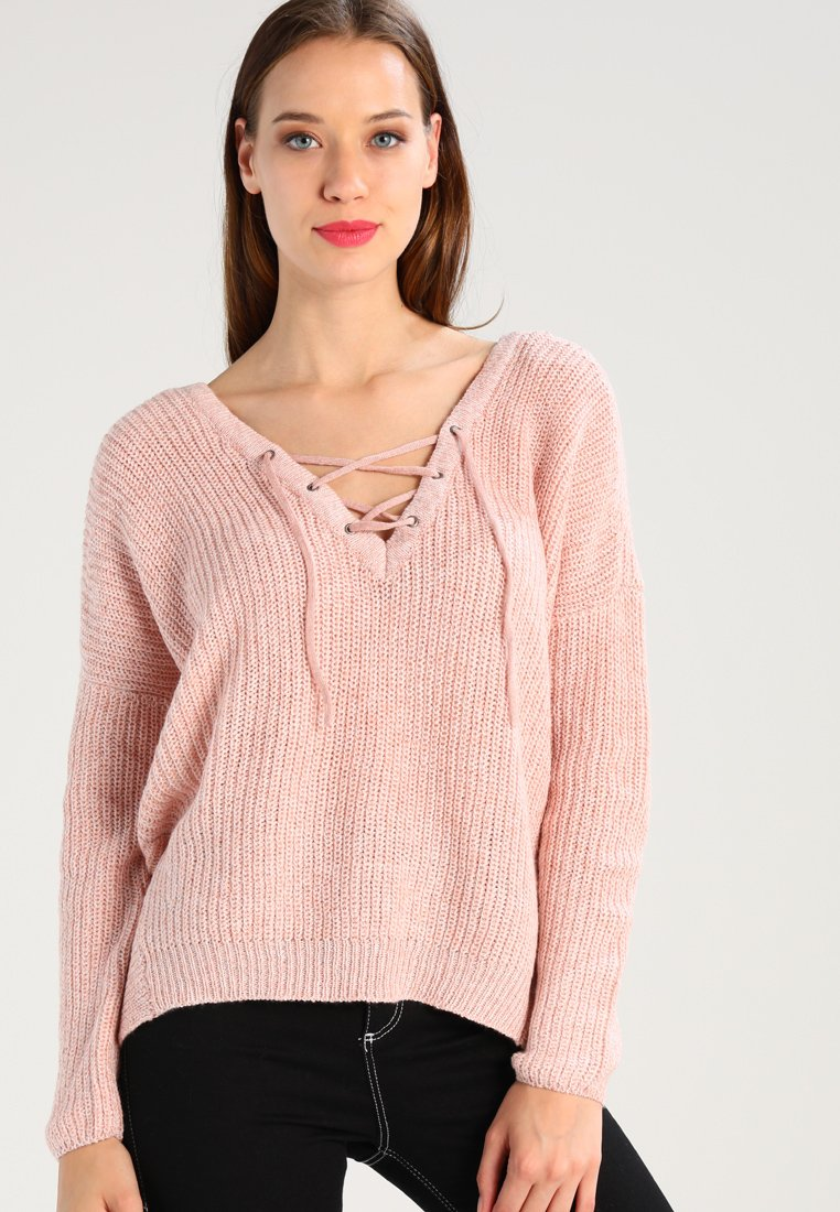 ONLY - ONLPEYTON LACE UP - Strickpullover - rose dawn/w. white melange