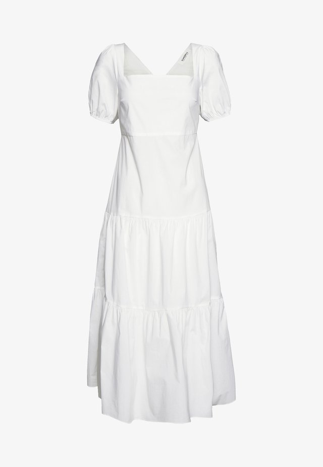 SHORT SLEEVE TIERED DRESS - Robe longue - white