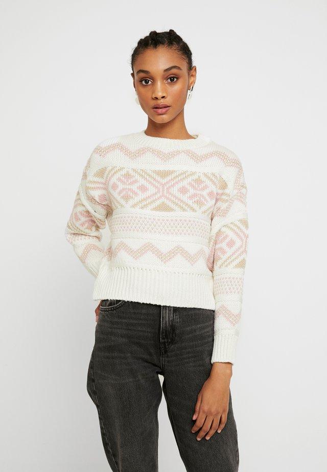 PRETTY FAIRISLE JUMPER - Pullover - cream