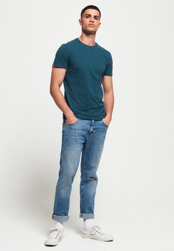 Superdry VINTAGE EMBROIDERY - T-shirt basic - blue bottle/niebieski Odzież Męska GHUQ