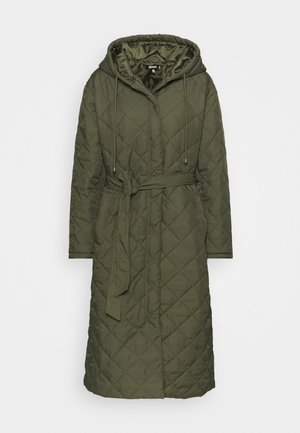HOODED DIAMOND QUILTED COAT - Zimní kabát - khaki