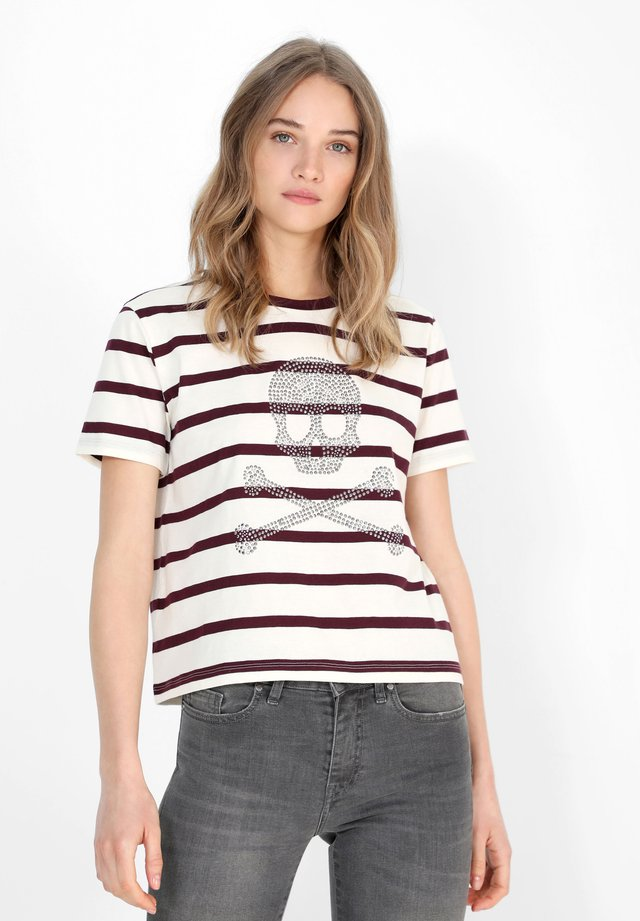 T-shirt con stampa - burgundy stripes