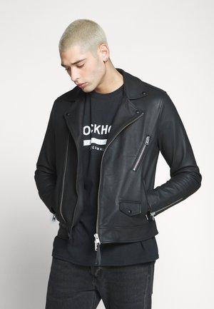BLOC BIKER - Leather jacket - black