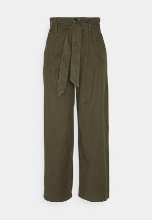ONLPIPI LIFE PAPERBAG WIDE PANT - Trousers - kalamata