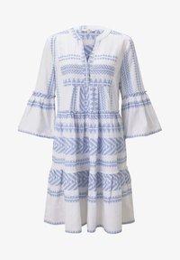 TOM TAILOR - MIT VOLANTS - Day dress - white blue large ikat design - 5