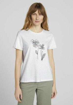 GESTREIFTES  - Print T-shirt - aral blue white stripe