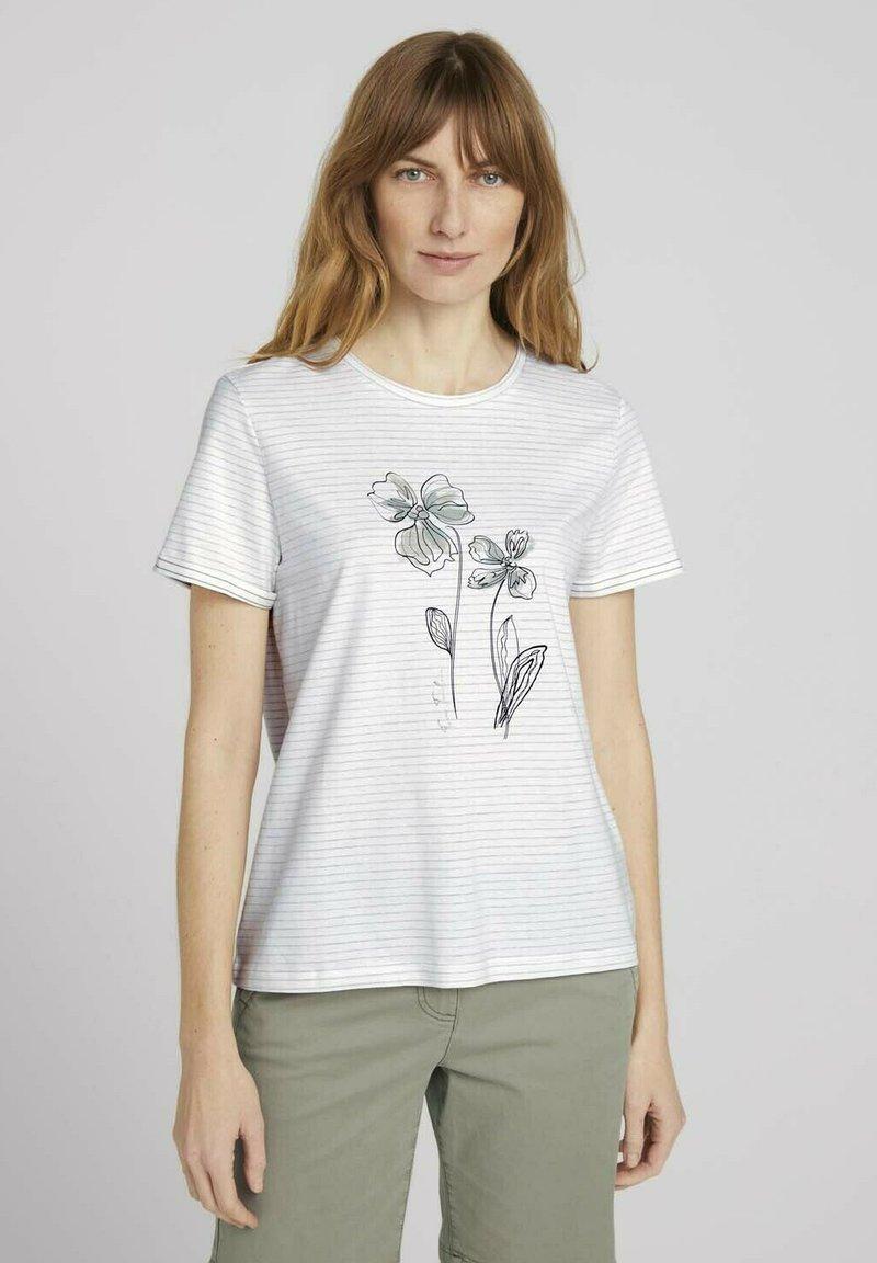 TOM TAILOR - GESTREIFTES  - Print T-shirt - aral blue white stripe