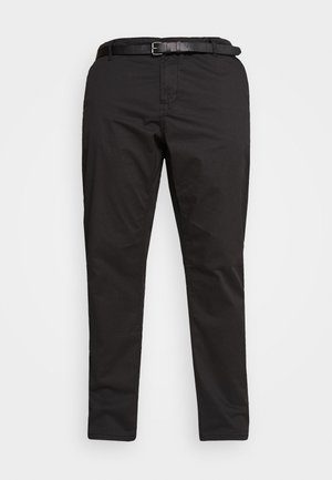 STRETCH WITH BELT - Chinos - black