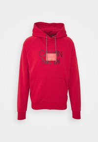 Calvin Klein - TEXT REVERSED HOODIE - Collegepaita - red - 0