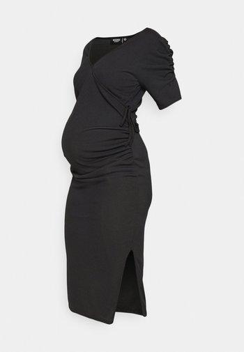 WRAP PUFF DRESS - Jerseykjole - black