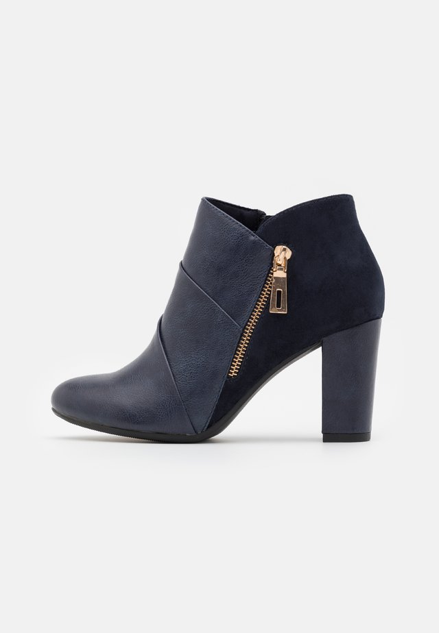 ALTON - Ankle boots - navy/gold