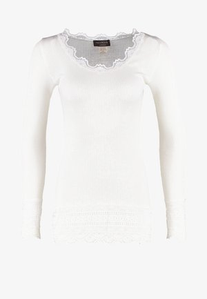 SILK-MIX T-SHIRT MEDIUM LS W/WIDE LACE - Topper langermet - new white