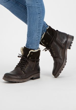 P.POST - Lace-up ankle boots - darkbrown
