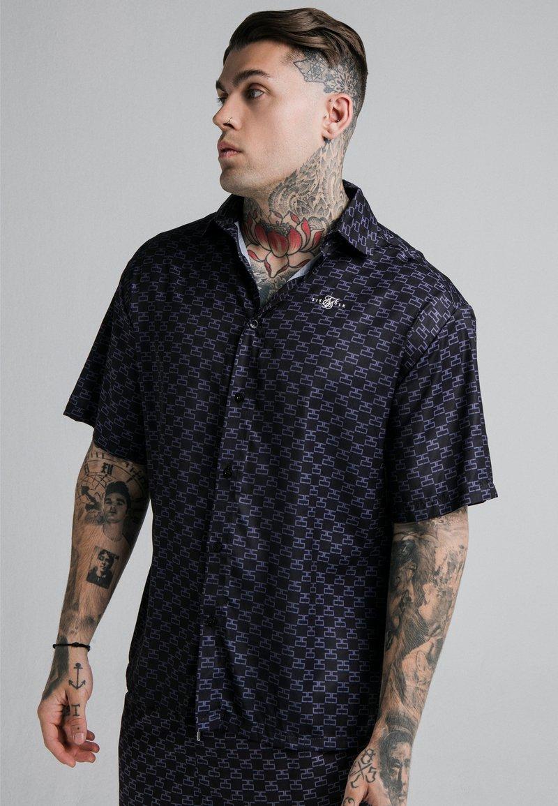 SIKSILK - MONOGRAM RESORT SHIRT - Shirt - black