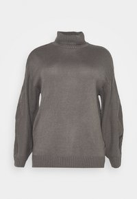 Missguided Plus - ROLL NECK CABLE SLEEVE JUMPER - Jumper - charcoal - 5