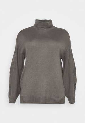ROLL NECK CABLE SLEEVE JUMPER - Svetr - charcoal