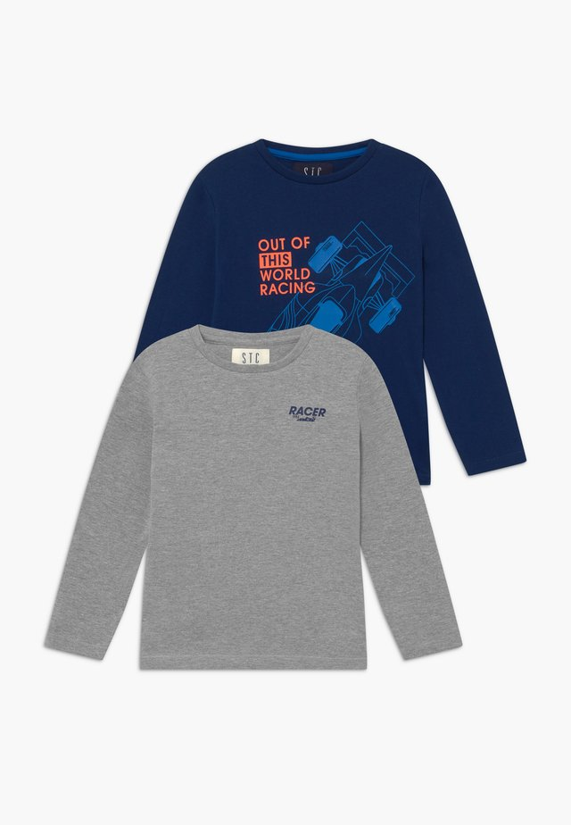 2 PACK - T-shirt z nadrukiem - marine/grey