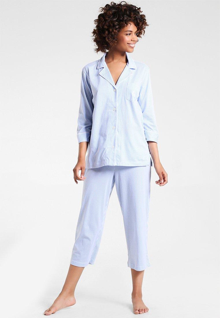 Lauren Ralph Lauren - HERITAGE 3/4 SLEEVE CLASSIC NOTCH COLLAR SET - Pyjama set - french blue/ white