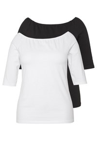 Even&Odd Curvy - 2 PACK - T-shirts - white/black - 0
