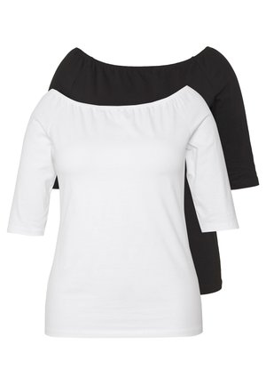 2 PACK - T-paita - white/black