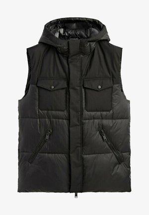 MIT TASCHEN UND KAPUZE - Waistcoat - black