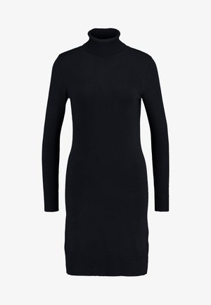 DRESS HIGH NECK - Pletené šaty - black