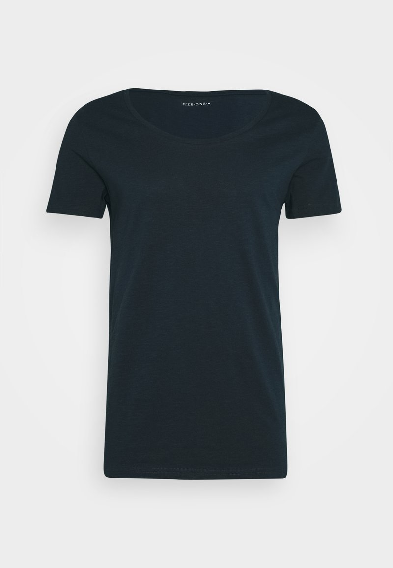 Pier One T-Shirt basic - black/schwarz UiRZG4