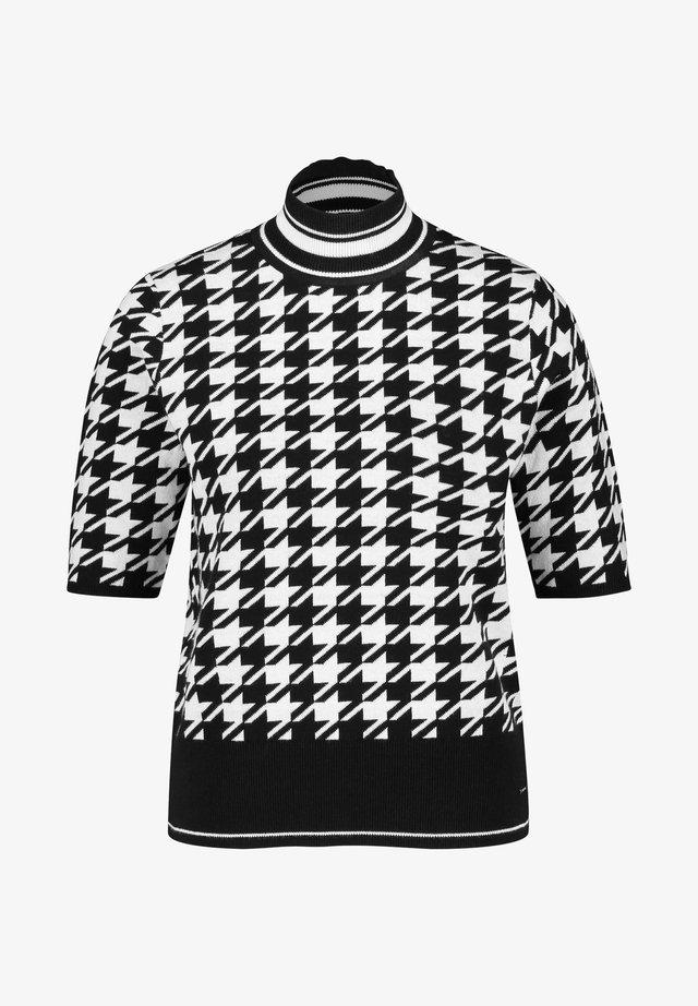MIT HAHNENTRITT - Print T-shirt - black gemustert
