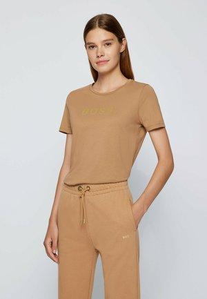 Print T-shirt - light brown