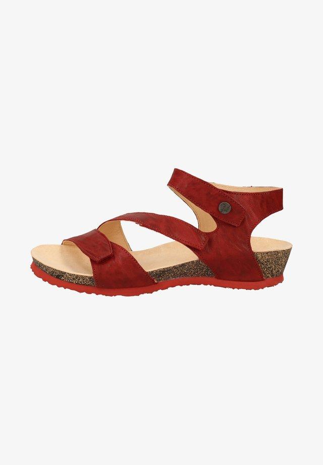 Sandalen met sleehak - cherry