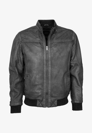 MIT STRICKABSCHLUSS - Leather jacket - graphite