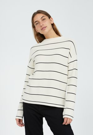 MEDINAA FINE STRIPES - Jumper - oatmilk-black
