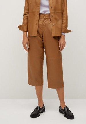 COFFE - Leather trousers - středně hnědá