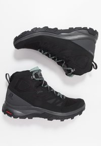 Salomon - OUTLINE MID GTX - Fjellsko - black/magnet/green milieu