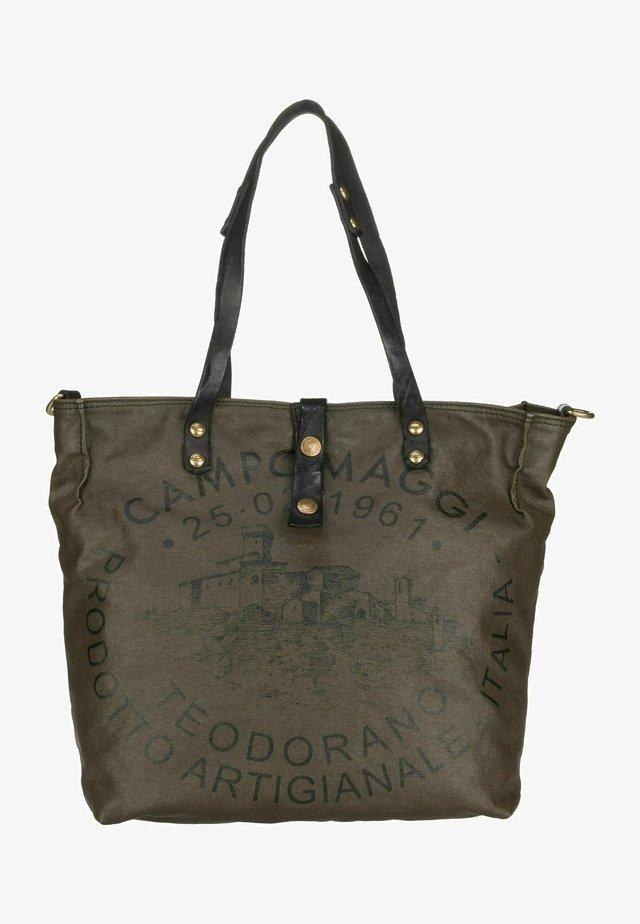 VIRTUS  - Tote bag - militare/grigio/stampa nera