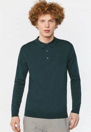 WE FASHION HERREN-FEINSTRICKPULLOVER MIT POLOKRAGEN - Polo shirt - dark green
