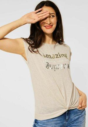 KNOTEN DETAIL - Print T-shirt - braun