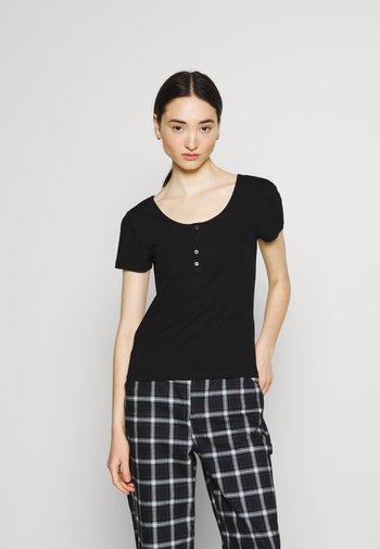 ONLSIMPLE LIFE BUTTON - Basic T-shirt - black