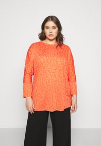 CAPSULE by Simply Be - BURNOUT BOXY  - Long sleeved top - coral - 0