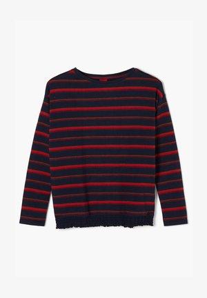 MIT GESMOKTEM SAUM - Long sleeved top - dark blue stripes