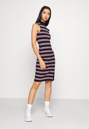 SIDE SLIT STRIPE DRESS - Shift dress - dark blue/white